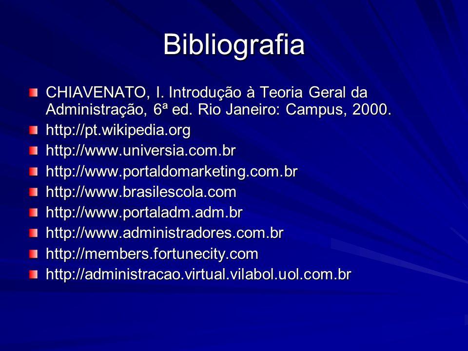 Bibliografia CHIAVENATO, I. Introdução à Teoria Geral da Administração, 6ª ed. Rio Janeiro: Campus, 2000. http://pt.wikipedia.orghttp://www.universia.