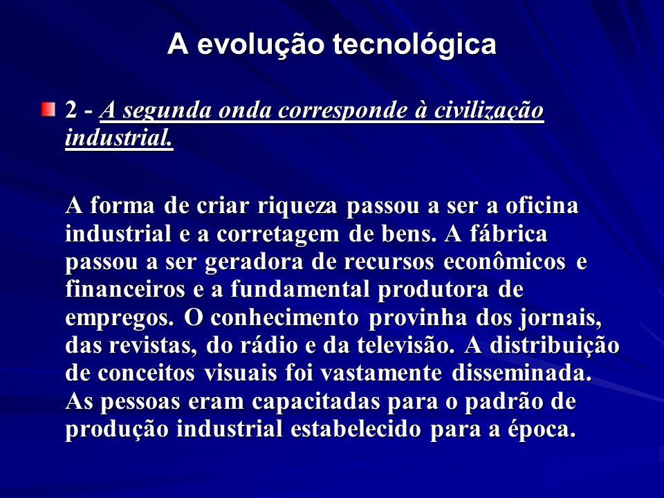 A evolução tecnológica 2 - A segunda onda corresponde à civilização industrial. A forma de criar riqueza passou a ser a oficina industrial e a correta