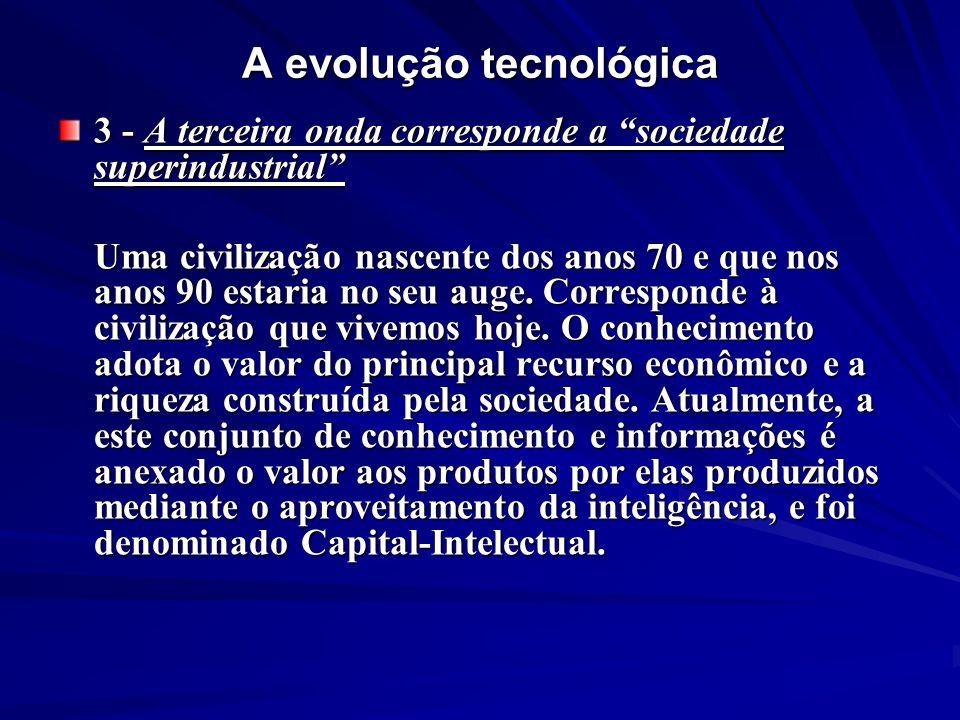 A evolução tecnológica 3 - A terceira onda corresponde a sociedade superindustrial Uma civilização nascente dos anos 70 e que nos anos 90 estaria no s