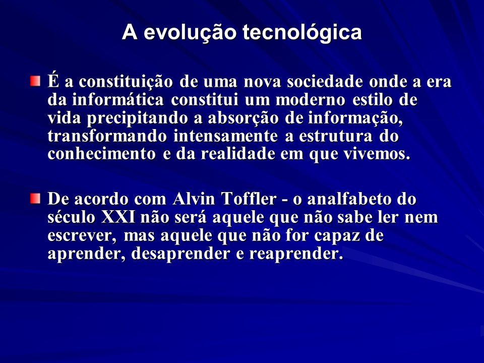 A evolução tecnológica É a constituição de uma nova sociedade onde a era da informática constitui um moderno estilo de vida precipitando a absorção de