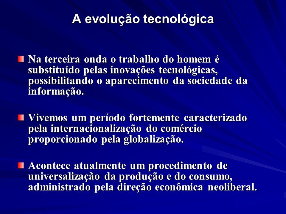 A evolução tecnológica Na terceira onda o trabalho do homem é substituído pelas inovações tecnológicas, possibilitando o aparecimento da sociedade da
