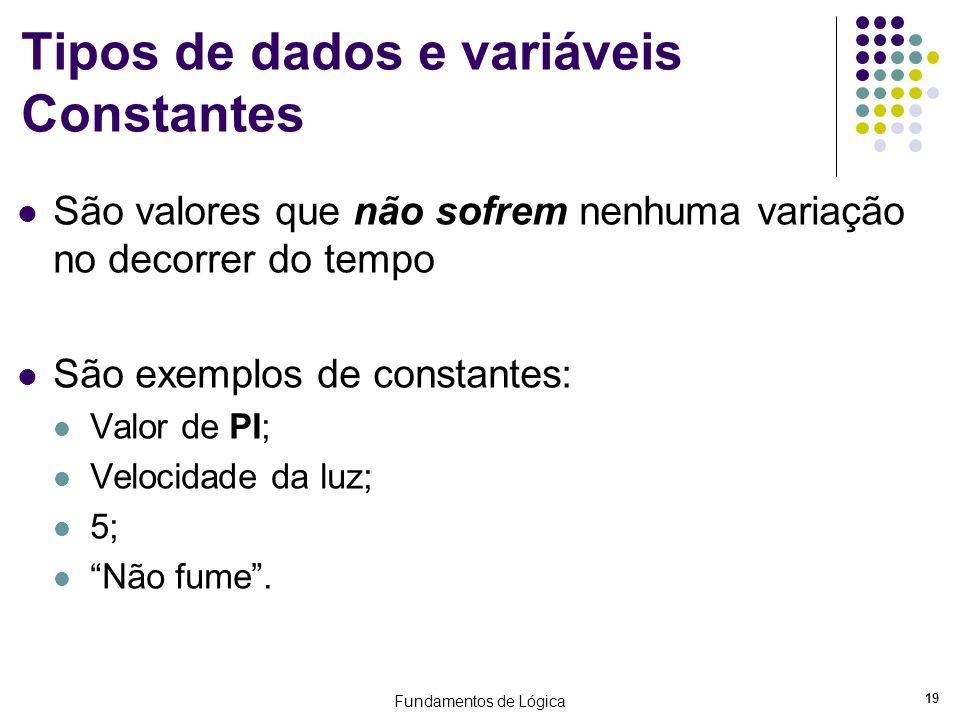 Fundamentos de Lógica 19 Tipos de dados e variáveis Constantes São valores que não sofrem nenhuma variação no decorrer do tempo São exemplos de consta