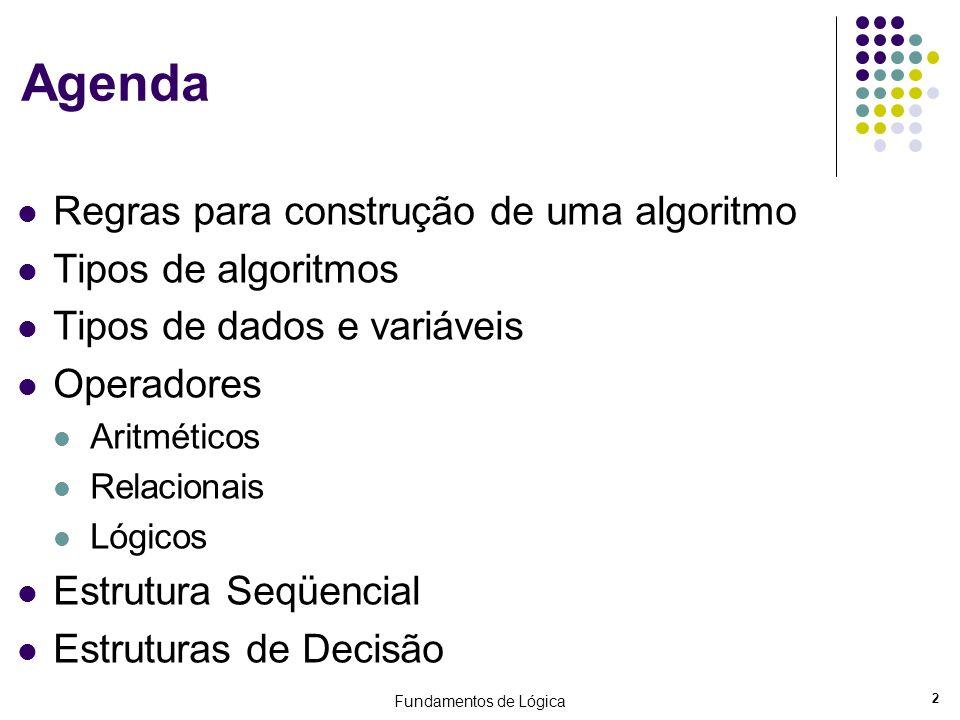 2 Agenda Regras para construção de uma algoritmo Tipos de algoritmos Tipos de dados e variáveis Operadores Aritméticos Relacionais Lógicos Estrutura S