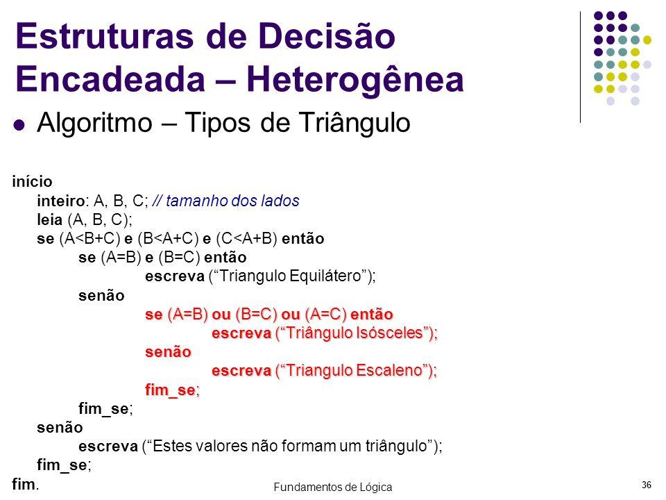 Fundamentos de Lógica 36 Estruturas de Decisão Encadeada – Heterogênea Algoritmo – Tipos de Triângulo início inteiro: A, B, C; // tamanho dos lados le
