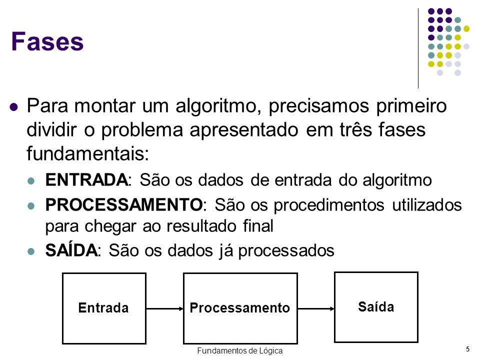 Fundamentos de Lógica 5 Fases Para montar um algoritmo, precisamos primeiro dividir o problema apresentado em três fases fundamentais: ENTRADA: São os
