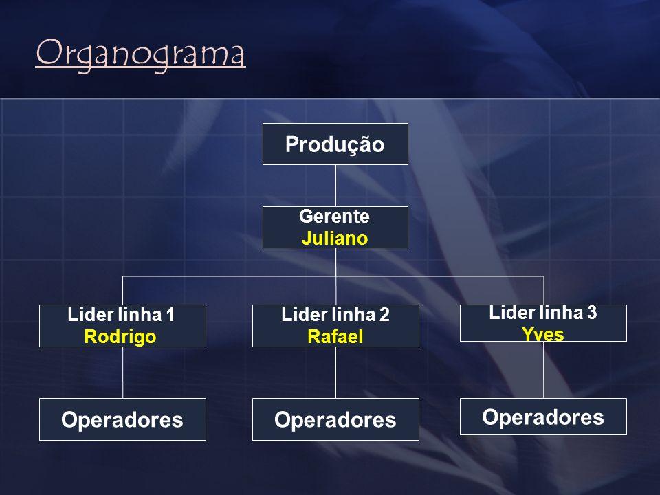 Produção Gerente Juliano Lider linha 2 Rafael Lider linha 1 Rodrigo Lider linha 3 Yves Operadores Organograma