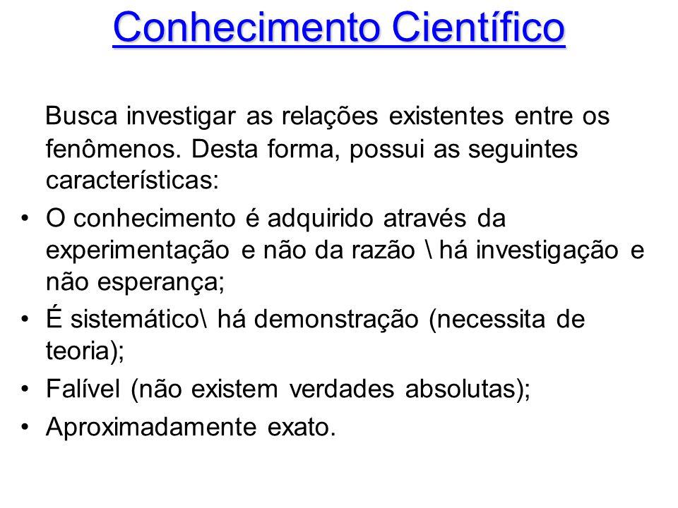 Conhecimento Científico Busca investigar as relações existentes entre os fenômenos. Desta forma, possui as seguintes características: O conhecimento é