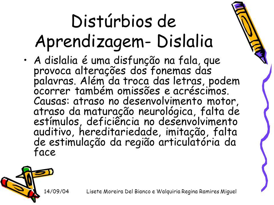 14/09/04Lisete Moreira Del Bianco e Walquiria Regina Ramires Miguel Distúrbios de Aprendizagem- Dislalia A dislalia é uma disfunção na fala, que provo
