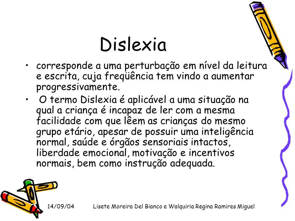 14/09/04Lisete Moreira Del Bianco e Walquiria Regina Ramires Miguel Dislexia corresponde a uma perturbação em nível da leitura e escrita, cuja freqüên