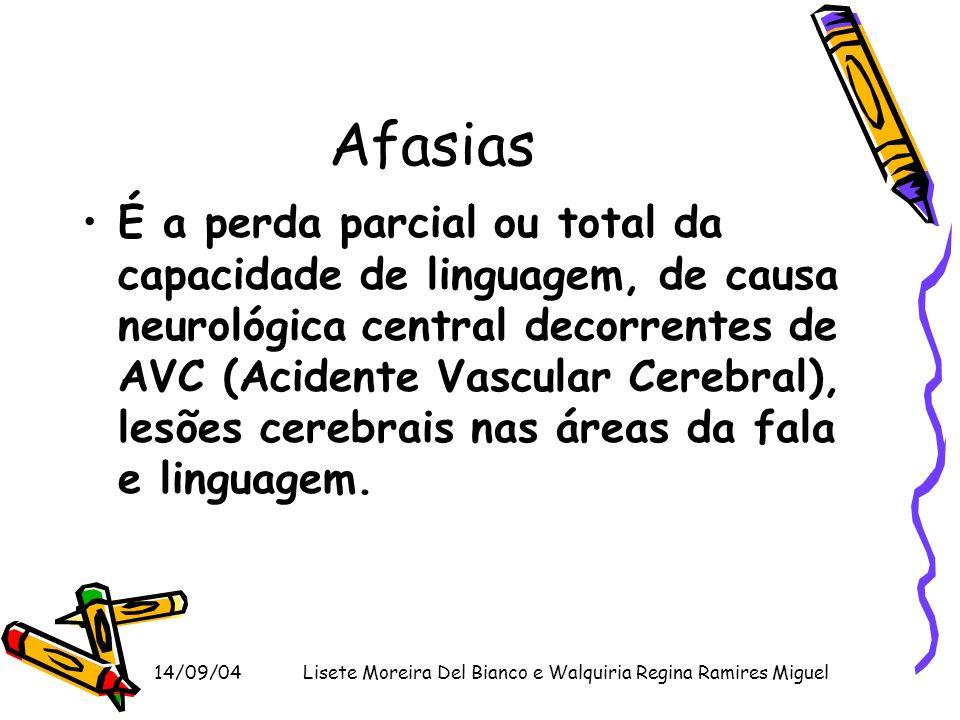 14/09/04Lisete Moreira Del Bianco e Walquiria Regina Ramires Miguel Afasias É a perda parcial ou total da capacidade de linguagem, de causa neurológic