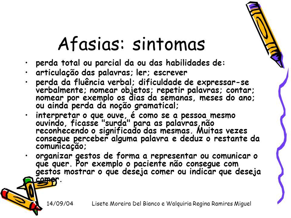 14/09/04Lisete Moreira Del Bianco e Walquiria Regina Ramires Miguel Afasias: sintomas perda total ou parcial da ou das habilidades de: articulação das