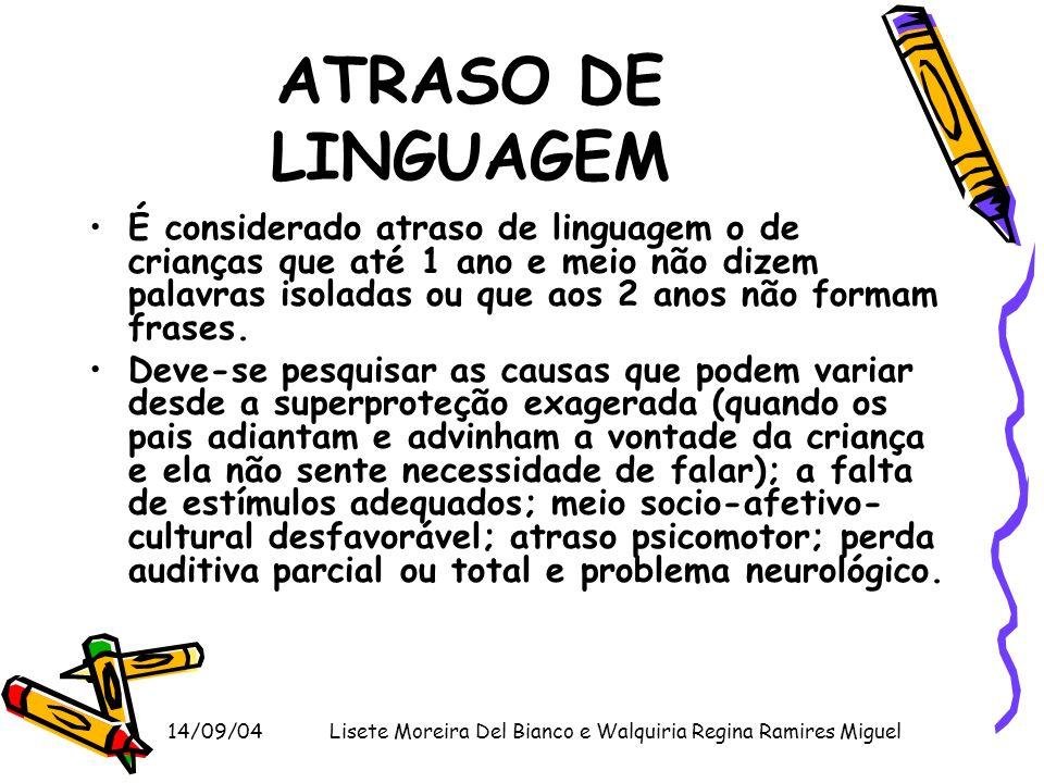 14/09/04Lisete Moreira Del Bianco e Walquiria Regina Ramires Miguel ATRASO DE LINGUAGEM É considerado atraso de linguagem o de crianças que até 1 ano