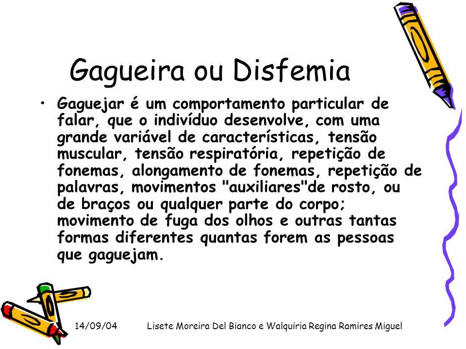 14/09/04Lisete Moreira Del Bianco e Walquiria Regina Ramires Miguel Gagueira ou Disfemia Gaguejar é um comportamento particular de falar, que o indiví