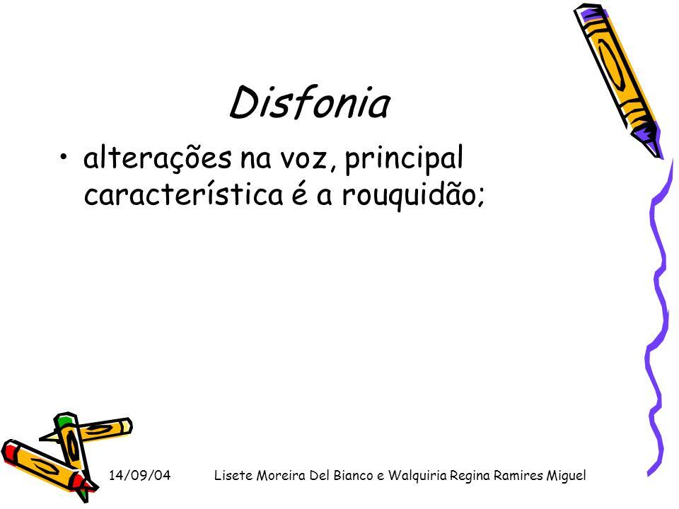 14/09/04Lisete Moreira Del Bianco e Walquiria Regina Ramires Miguel Disfonia alterações na voz, principal característica é a rouquidão;