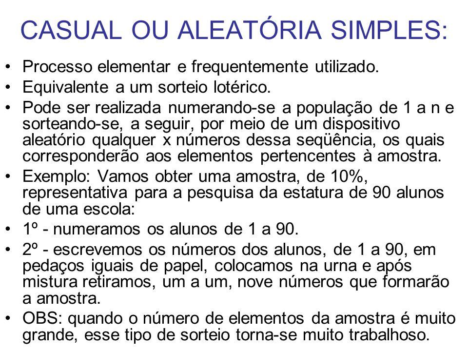 CASUAL OU ALEATÓRIA SIMPLES: Processo elementar e frequentemente utilizado. Equivalente a um sorteio lotérico. Pode ser realizada numerando-se a popul