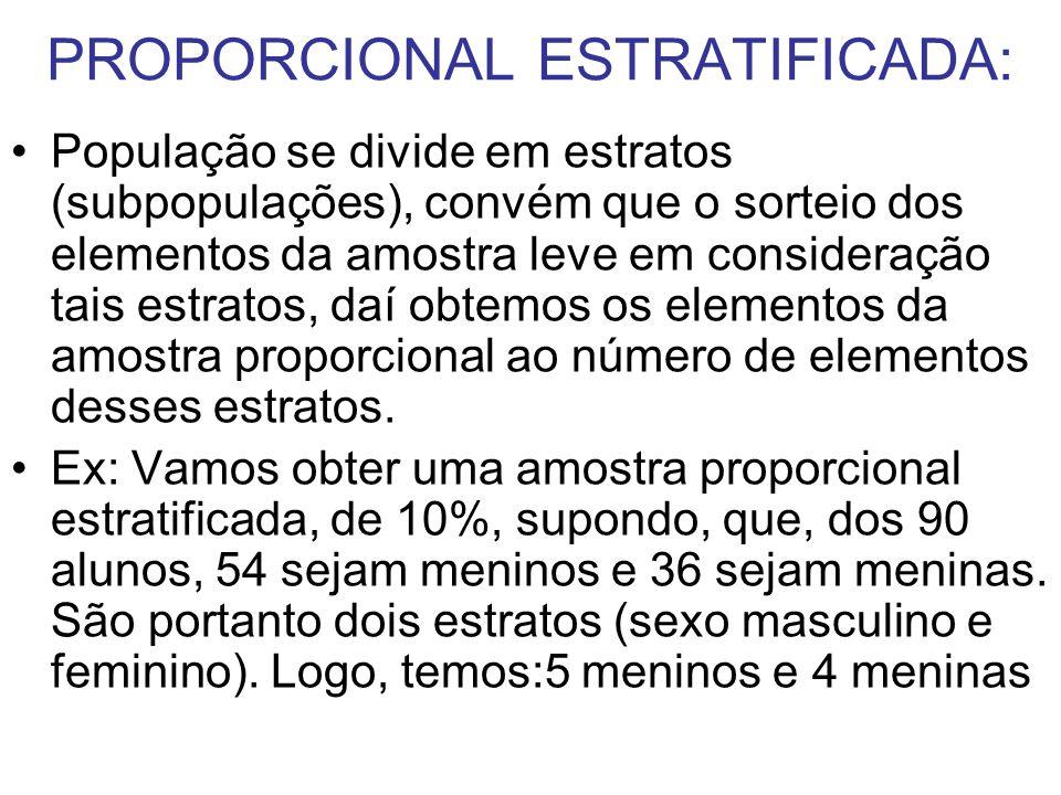 PROPORCIONAL ESTRATIFICADA: População se divide em estratos (subpopulações), convém que o sorteio dos elementos da amostra leve em consideração tais e