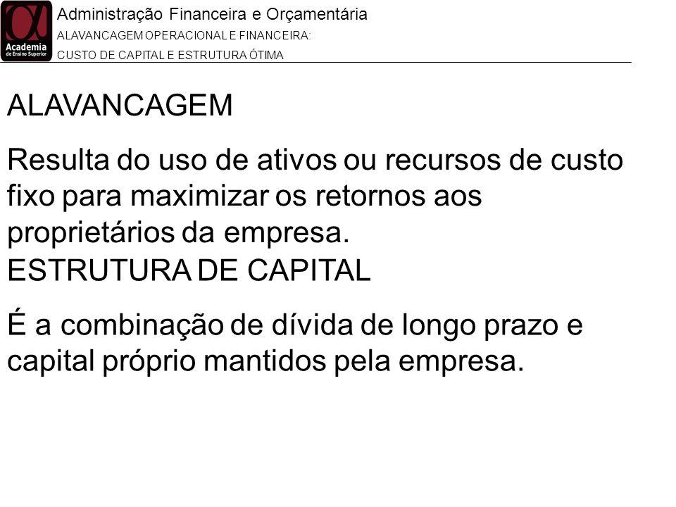 Administração Financeira e Orçamentária ALAVANCAGEM OPERACIONAL E FINANCEIRA: CUSTO DE CAPITAL E ESTRUTURA ÓTIMA ALAVANCAGEM Resulta do uso de ativos