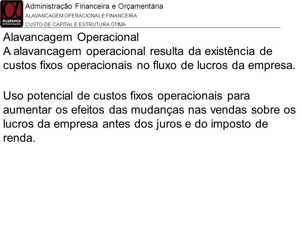 Administração Financeira e Orçamentária ALAVANCAGEM OPERACIONAL E FINANCEIRA: CUSTO DE CAPITAL E ESTRUTURA ÓTIMA Alavancagem Operacional A alavancagem