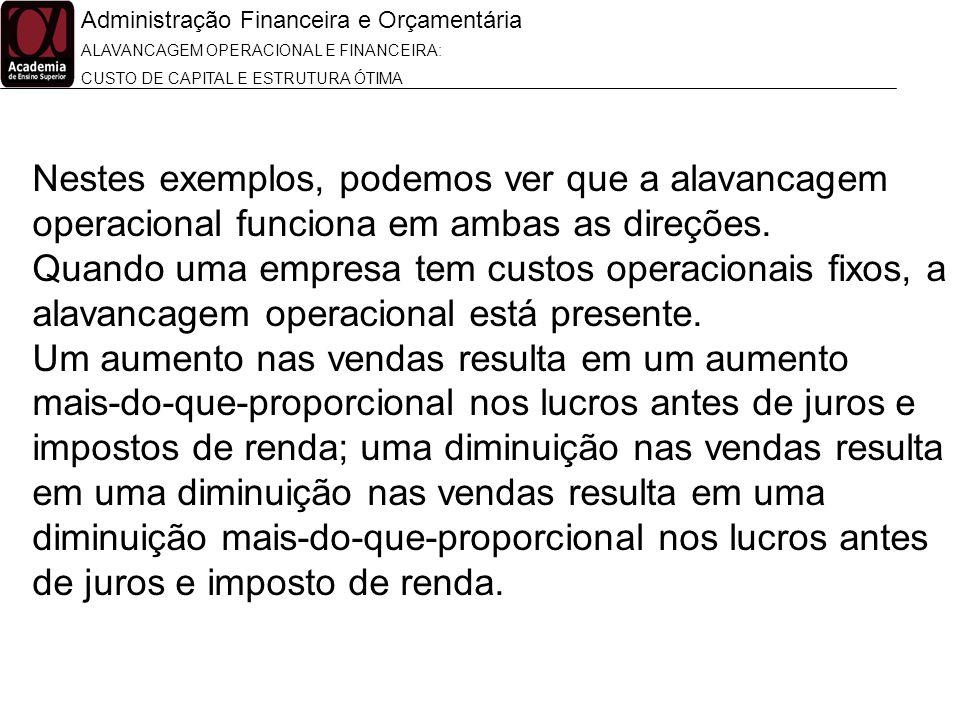 Administração Financeira e Orçamentária ALAVANCAGEM OPERACIONAL E FINANCEIRA: CUSTO DE CAPITAL E ESTRUTURA ÓTIMA Nestes exemplos, podemos ver que a al