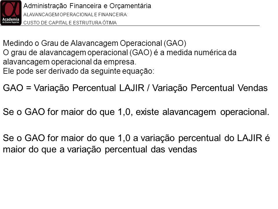 Administração Financeira e Orçamentária ALAVANCAGEM OPERACIONAL E FINANCEIRA: CUSTO DE CAPITAL E ESTRUTURA ÓTIMA Medindo o Grau de Alavancagem Operaci