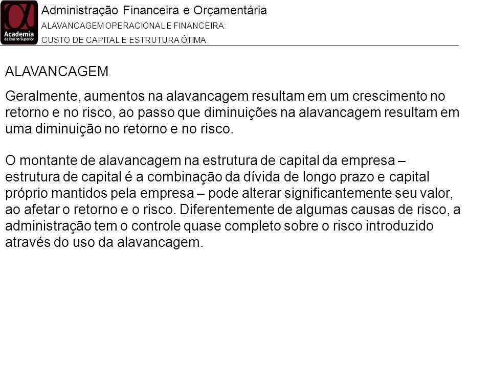 Administração Financeira e Orçamentária ALAVANCAGEM OPERACIONAL E FINANCEIRA: CUSTO DE CAPITAL E ESTRUTURA ÓTIMA ALAVANCAGEM Geralmente, aumentos na a