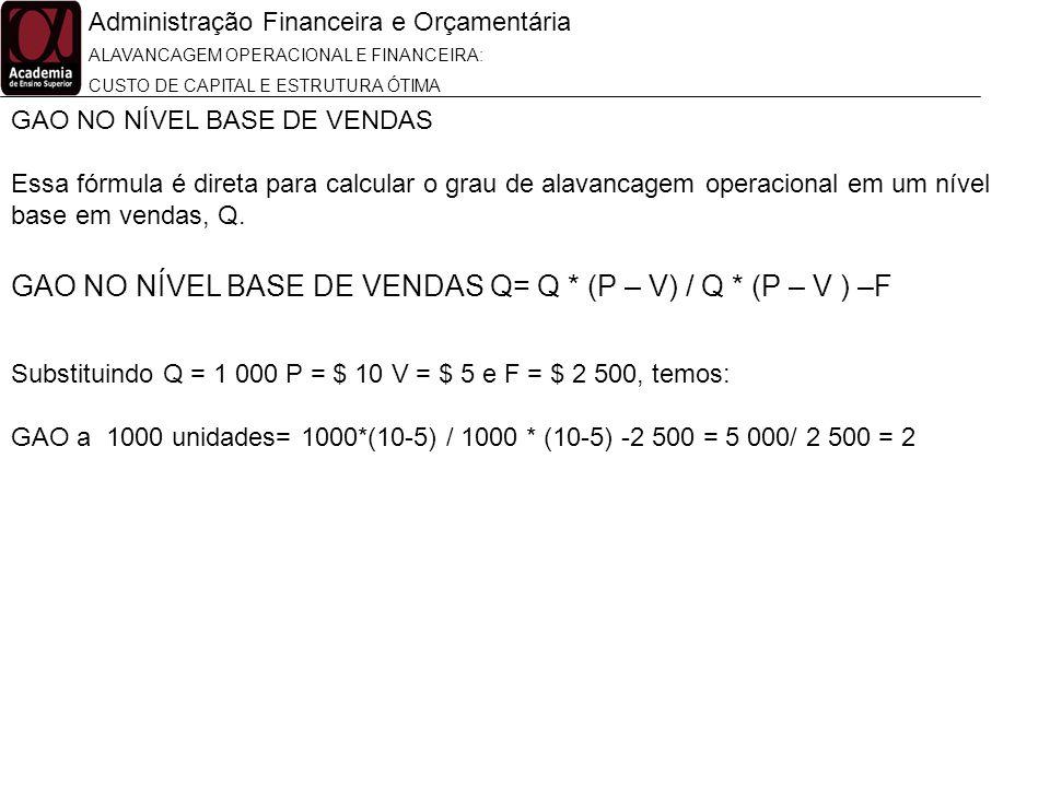 Administração Financeira e Orçamentária ALAVANCAGEM OPERACIONAL E FINANCEIRA: CUSTO DE CAPITAL E ESTRUTURA ÓTIMA GAO NO NÍVEL BASE DE VENDAS Q= Q * (P
