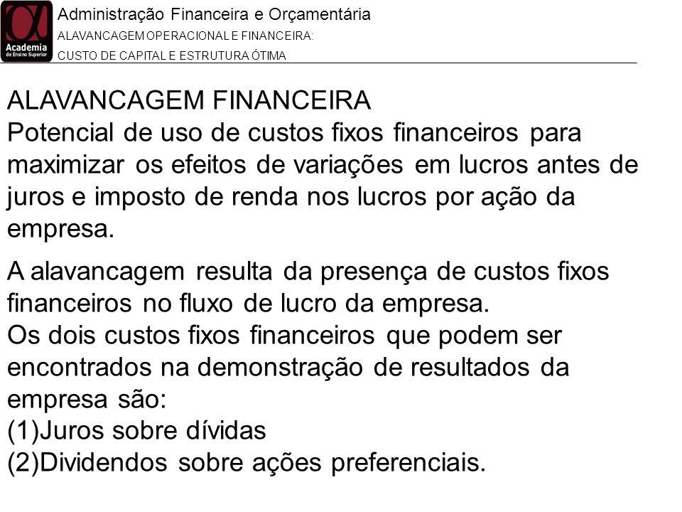 Administração Financeira e Orçamentária ALAVANCAGEM OPERACIONAL E FINANCEIRA: CUSTO DE CAPITAL E ESTRUTURA ÓTIMA ALAVANCAGEM FINANCEIRA Potencial de u