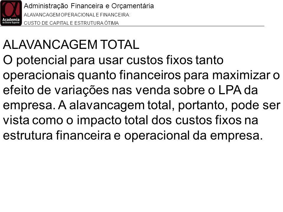 Administração Financeira e Orçamentária ALAVANCAGEM OPERACIONAL E FINANCEIRA: CUSTO DE CAPITAL E ESTRUTURA ÓTIMA ALAVANCAGEM TOTAL O potencial para us