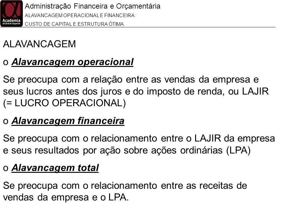 Administração Financeira e Orçamentária ALAVANCAGEM OPERACIONAL E FINANCEIRA: CUSTO DE CAPITAL E ESTRUTURA ÓTIMA ALAVANCAGEM o Alavancagem operacional