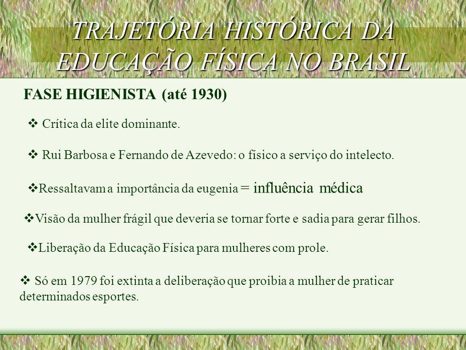 TRAJETÓRIA HISTÓRICA DA EDUCAÇÃO FÍSICA NO BRASIL FASE HIGIENISTA - ATÉ 1930 FASE DA MILITARIZAÇÃO (1930 - 1945) FASE DA PEDAGOGIZAÇÃO (1945 - 1964) F