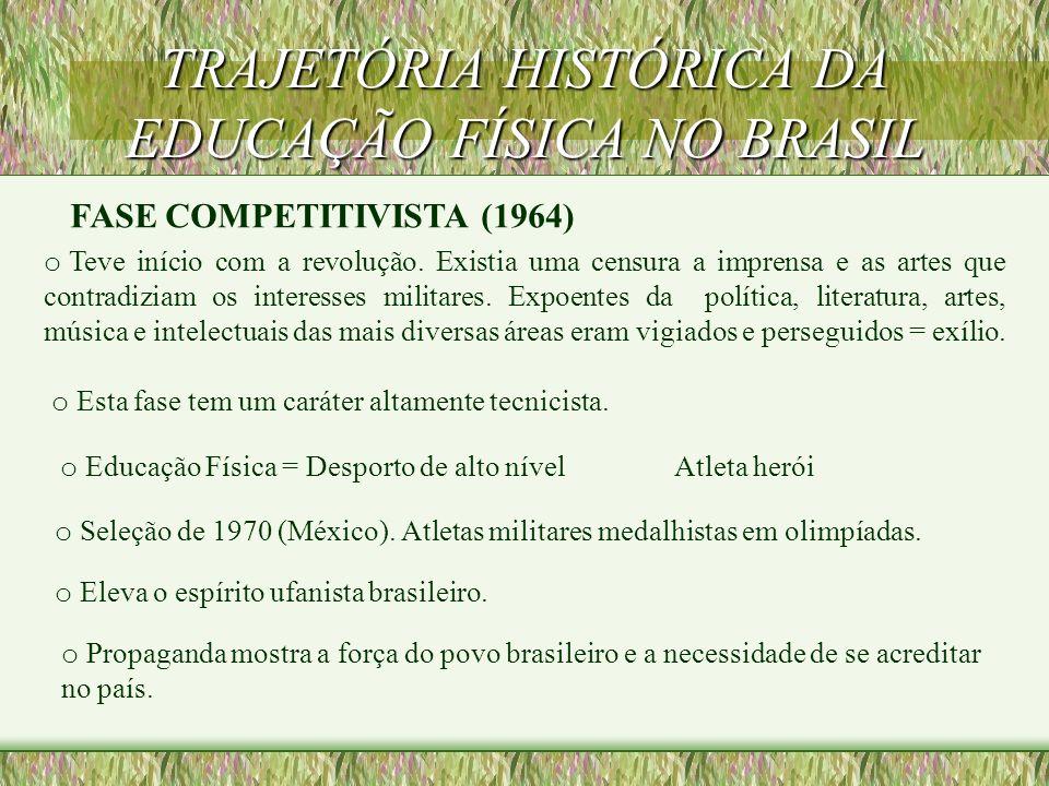TRAJETÓRIA HISTÓRICA DA EDUCAÇÃO FÍSICA NO BRASIL FASE DA PEDAGOGIZAÇÃO (1945 - 1964) Fim do Estado Novo. A formação acadêmica na Educação Física era