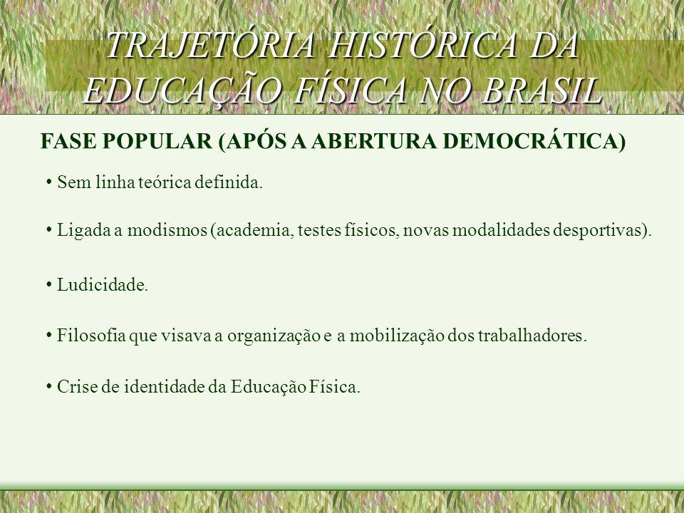 TRAJETÓRIA HISTÓRICA DA EDUCAÇÃO FÍSICA NO BRASIL FASE COMPETITIVISTA (1964) o Esta fase tem um caráter altamente tecnicista. o Educação Física = Desp