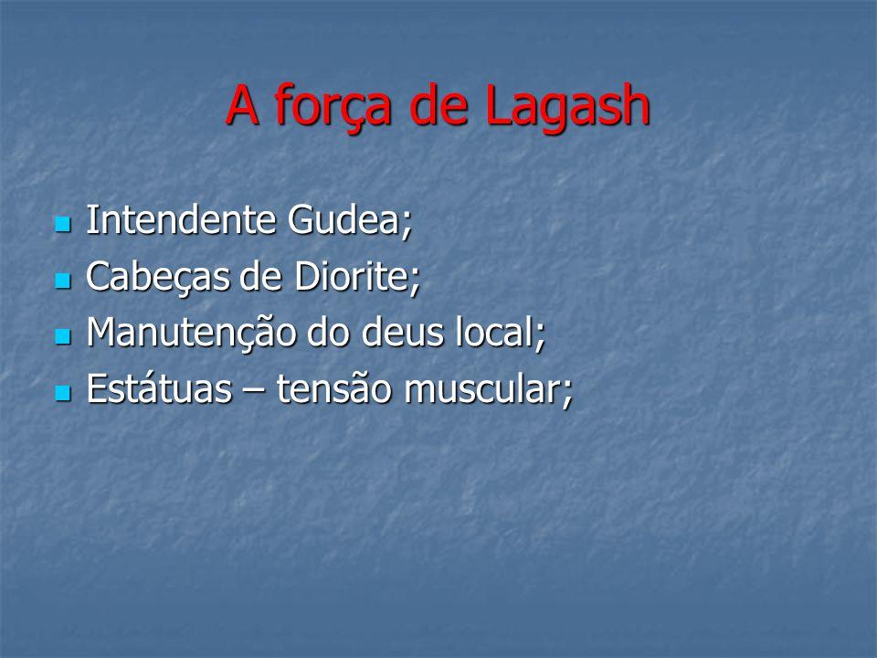 A força de Lagash Intendente Gudea; Intendente Gudea; Cabeças de Diorite; Cabeças de Diorite; Manutenção do deus local; Manutenção do deus local; Está