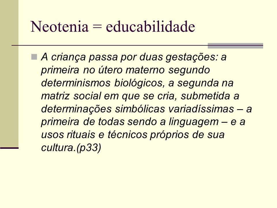 Neotenia = educabilidade A criança passa por duas gestações: a primeira no útero materno segundo determinismos biológicos, a segunda na matriz social