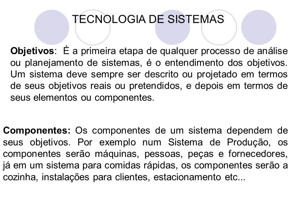 TECNOLOGIA DE SISTEMAS Objetivos: É a primeira etapa de qualquer processo de análise ou planejamento de sistemas, é o entendimento dos objetivos.