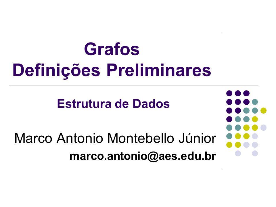 Grafos Definições Preliminares Marco Antonio Montebello Júnior marco.antonio@aes.edu.br Estrutura de Dados
