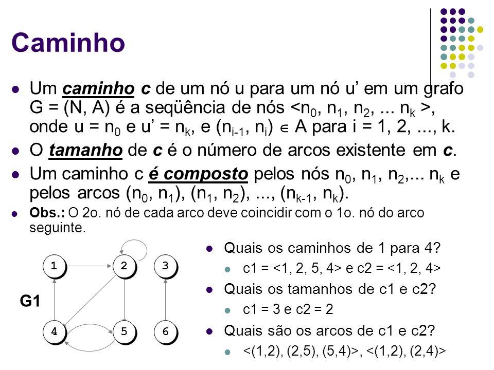 Caminho Um caminho c de um nó u para um nó u em um grafo G = (N, A) é a seqüência de nós, onde u = n 0 e u = n k, e (n i-1, n i ) A para i = 1, 2,...,