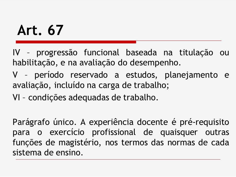 Art. 67 IV – progressão funcional baseada na titulação ou habilitação, e na avaliação do desempenho. V – período reservado a estudos, planejamento e a