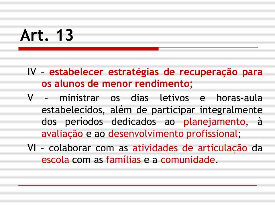 Art. 13 IV – estabelecer estratégias de recuperação para os alunos de menor rendimento; V – ministrar os dias letivos e horas-aula estabelecidos, além