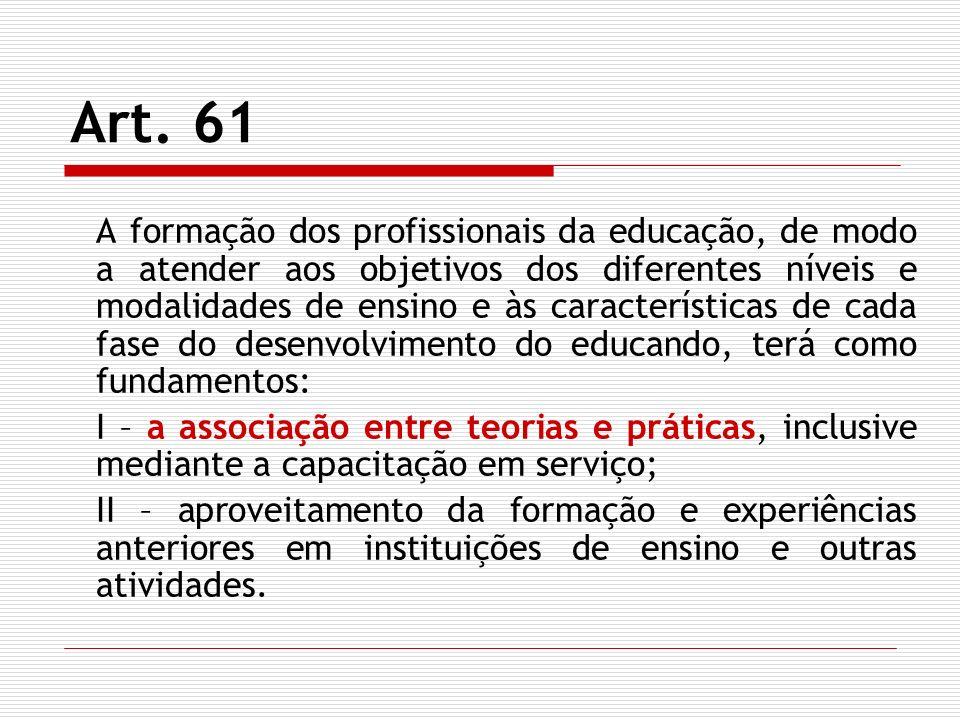 Art. 61 A formação dos profissionais da educação, de modo a atender aos objetivos dos diferentes níveis e modalidades de ensino e às características d