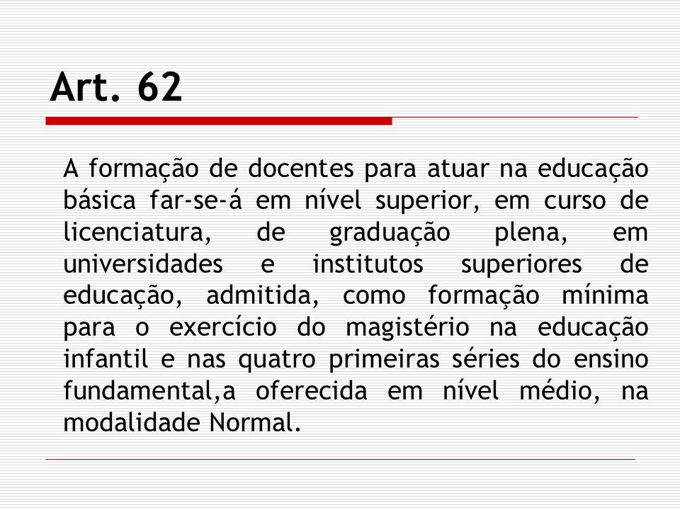 Art. 62 A formação de docentes para atuar na educação básica far-se-á em nível superior, em curso de licenciatura, de graduação plena, em universidade