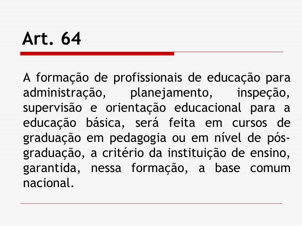 Art. 64 A formação de profissionais de educação para administração, planejamento, inspeção, supervisão e orientação educacional para a educação básica