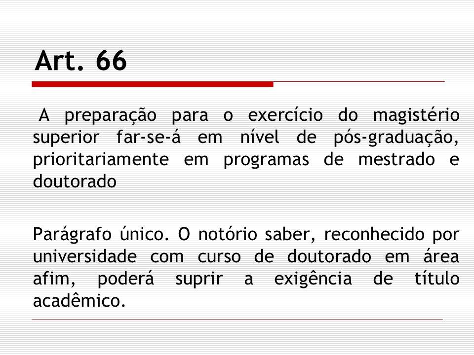 Art. 66 A preparação para o exercício do magistério superior far-se-á em nível de pós-graduação, prioritariamente em programas de mestrado e doutorado