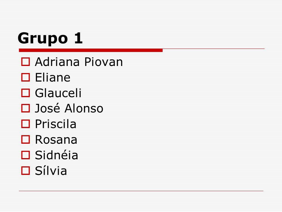 Grupo 1 Adriana Piovan Eliane Glauceli José Alonso Priscila Rosana Sidnéia Sílvia
