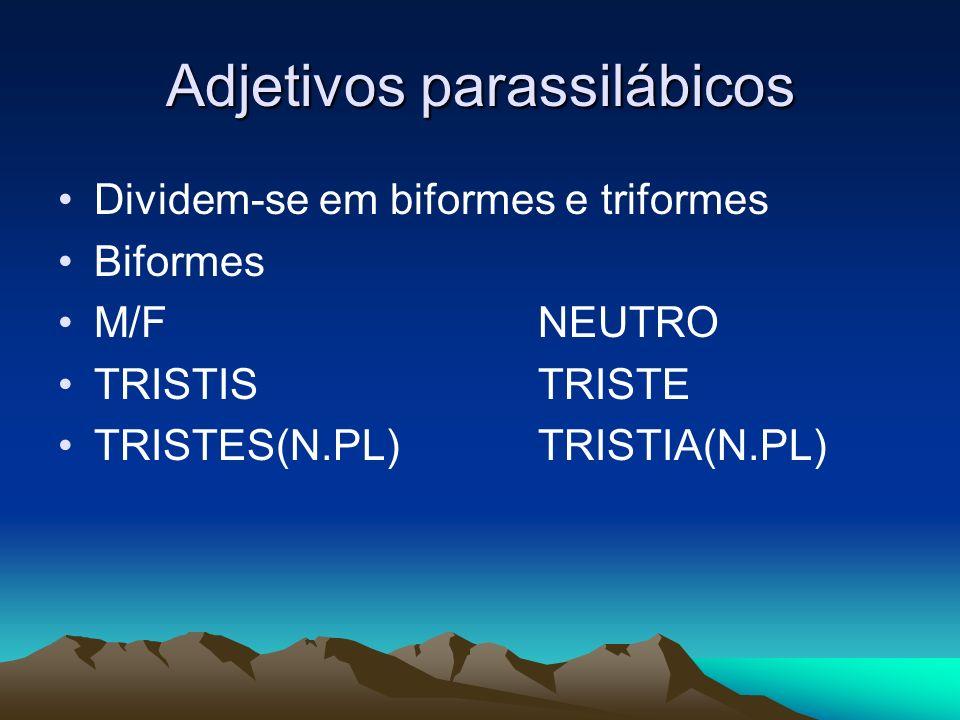 Adjetivos parassilábicos Dividem-se em biformes e triformes Biformes M/FNEUTRO TRISTISTRISTE TRISTES(N.PL)TRISTIA(N.PL)