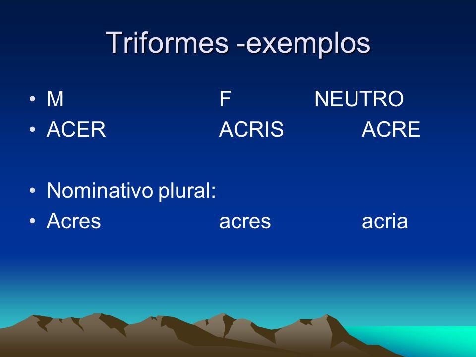 Triformes -exemplos MFNEUTRO ACERACRISACRE Nominativo plural: Acresacresacria