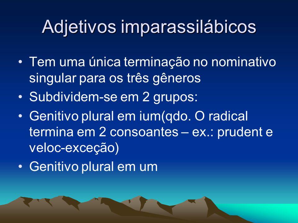 Adjetivos imparassilábicos Tem uma única terminação no nominativo singular para os três gêneros Subdividem-se em 2 grupos: Genitivo plural em ium(qdo.
