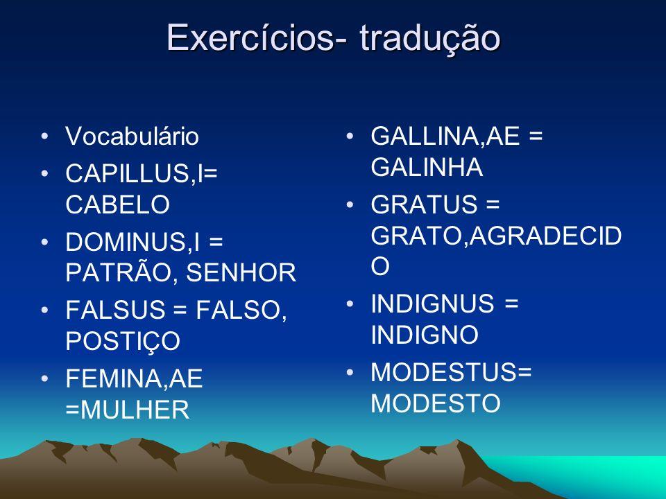 Exercícios- tradução Vocabulário CAPILLUS,I= CABELO DOMINUS,I = PATRÃO, SENHOR FALSUS = FALSO, POSTIÇO FEMINA,AE =MULHER GALLINA,AE = GALINHA GRATUS =