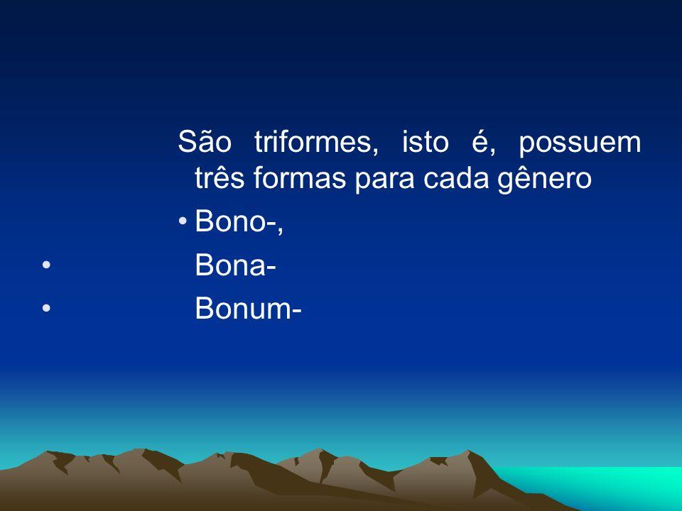 São triformes, isto é, possuem três formas para cada gênero Bono-, Bona- Bonum-