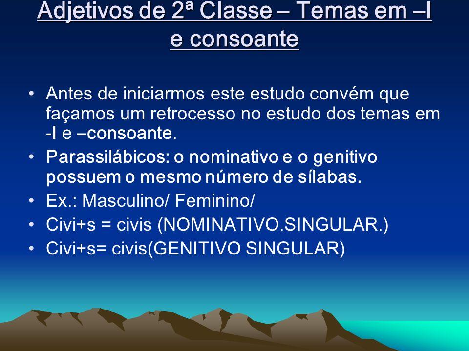 Adjetivos de 2ª Classe – Temas em –I e consoante Antes de iniciarmos este estudo convém que façamos um retrocesso no estudo dos temas em -I e –consoan